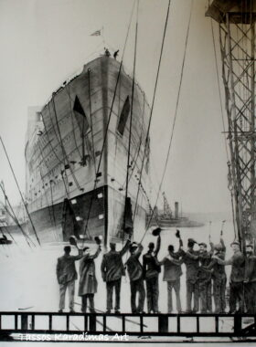 Σκίτσο Titanic launching